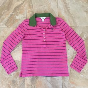 Lilly Pulitzer Pink Striped Long Sleeve Polo